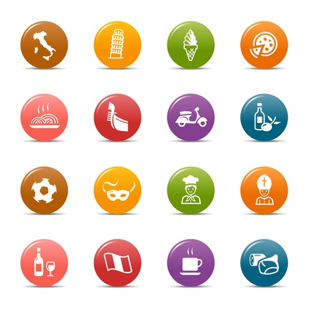Colored Dots - Italian Icons Stock Vector - 12488377