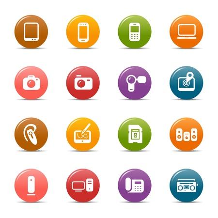mobile headset: Puntos de colores - los medios de comunicaci�n Iconos