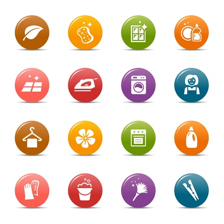 cleaning floor: Colored Dots - Cleaning Icons Illustration