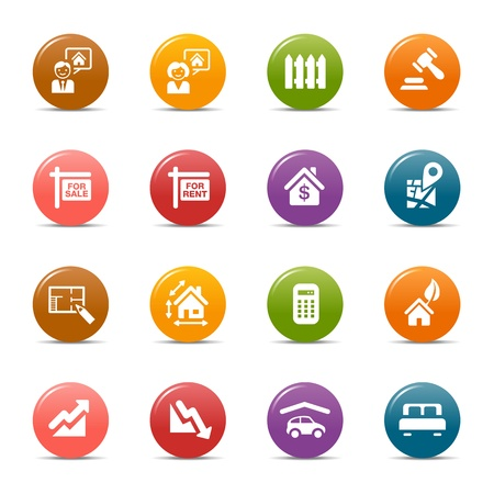 Colored Dots - Real estate icons Stock Vector - 12488249