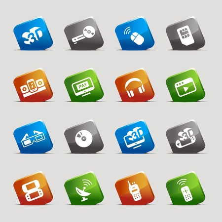 Cut Squares - Media Icons Vector