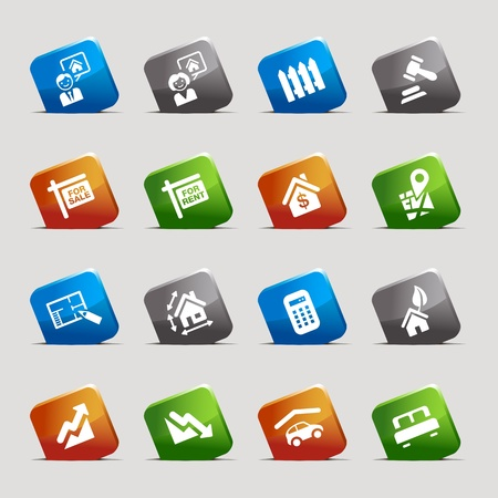 Cut Squares - Real estate icons Stock Vector - 12488234