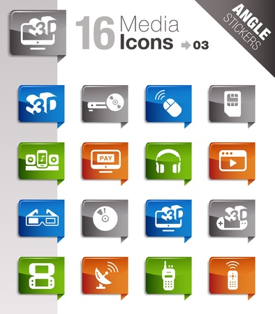 Angle Stickers - Media Icons Vector