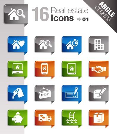 icone immobilier: Autocollants Angle - ic�nes de l 'immobilier