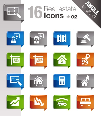 Angle Stickers - Real estate icons Vector