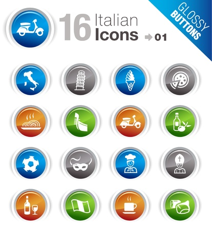 Glossy Buttons - Italian Icons Stock Vector - 12488389