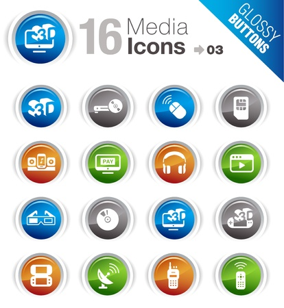 Glossy Buttons - Media Icons  Vector