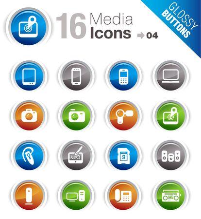 mobile headset: Botones brillantes - los medios de comunicaci�n Iconos Vectores