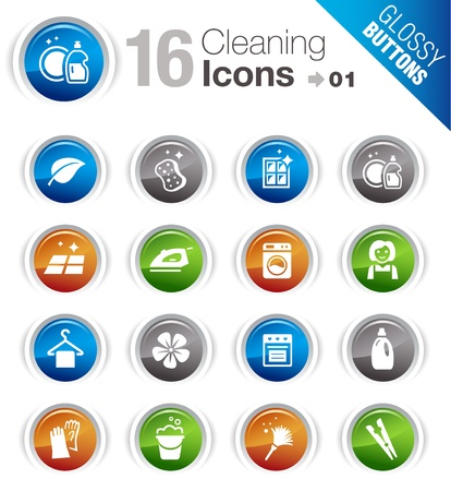 Glossy Buttons - Cleaning Icons Stock Vector - 12488385