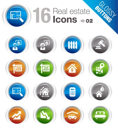 Glossy Buttons - Real estate icons Stock Vector - 12488384