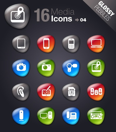 photo icons: Glossy Pebbles - Media Icons Illustration