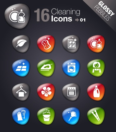 Glossy Pebbles - Cleaning Icons Vector