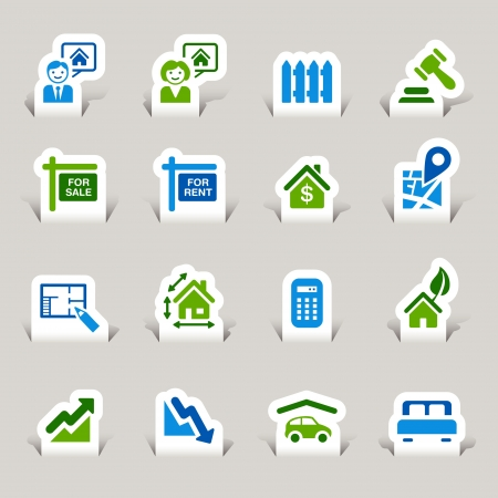 Paper Cut - Real estate icons Vector