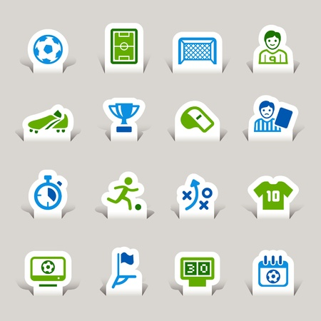 Paper Cut - Soccer Icons Vector