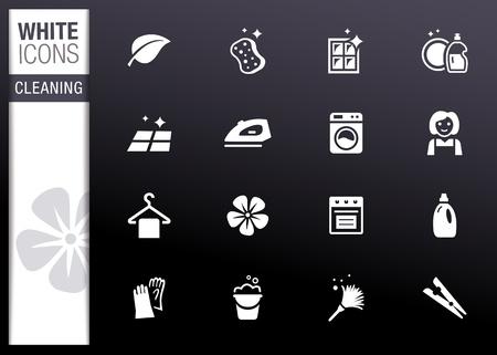 productos de limpieza: Blanco - Limpieza de iconos Vectores