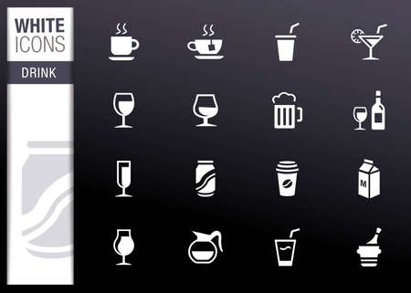 White - Drink Icons Stock Vector - 12488309