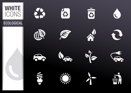 White - Ecological Icons Stock Vector - 12488312