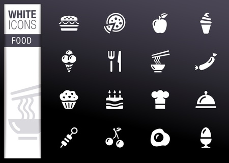 White - Food Icons Stock Vector - 12488315