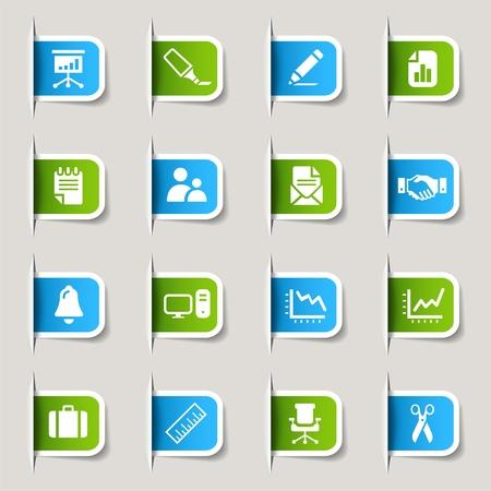 D'étiquettes - icônes de bureau et d'affaires Vecteurs