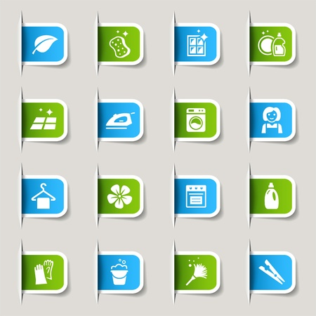 Label - Cleaning Icons Vector