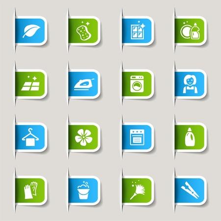 schoonmaakartikelen: Label - Reiniging Pictogrammen Stock Illustratie