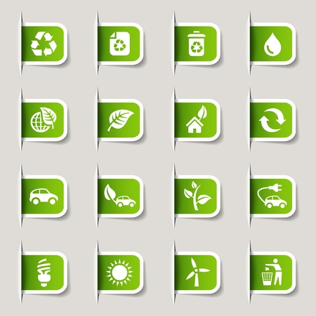 conservacion del agua: Etiquetas - Iconos ecol�gicos Vectores