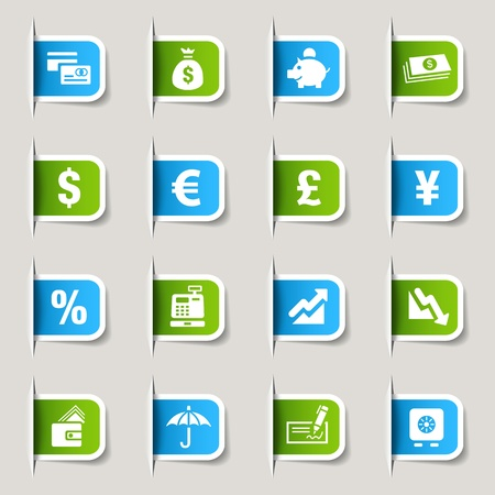 falling money: Label - Finance icons Illustration