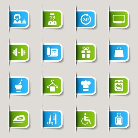 gym room: Etiquetas - iconos de hoteles Vectores
