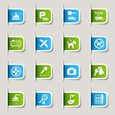 Etiquetas - iconos del hotel Ilustración de vector