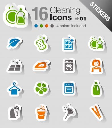Pegatinas - Iconos de limpieza Ilustración de vector