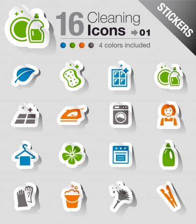 Stickers - Cleaning Icons Vector
