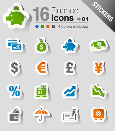 Stickers - Finance icons Stock Vector - 13384351
