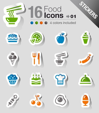 Stickers - Food Icons Stock Vector - 13384355