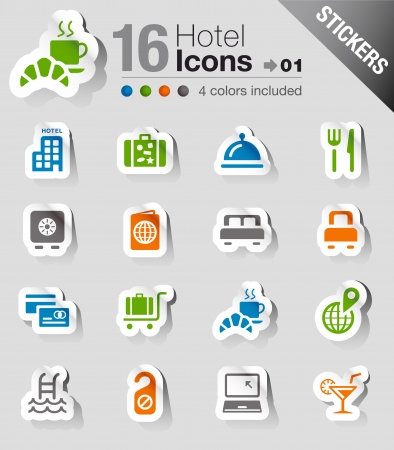 breakfast hotel: Stickers - Hotel icons Illustration