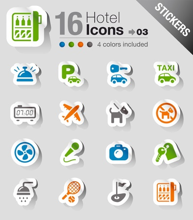 hotel rooms: Stickers - Hotel icons Illustration