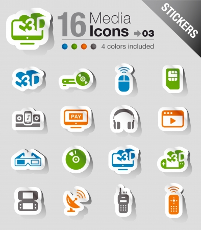 Stickers - Media Icons Vector