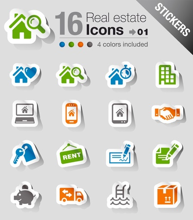 Stickers -   Real estate icons Stock Vector - 13384357