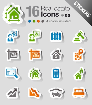 Stickers -   Real estate icons Stock Vector - 13384356