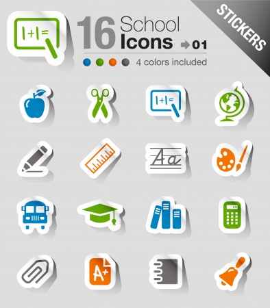 new rules: Stickers -  School Icons Illustration