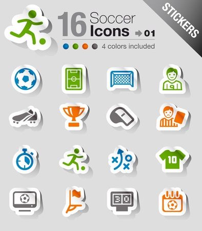 Stickers - Soccer Icons Stock Vector - 13384367