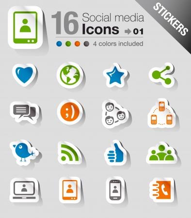 iconos contacto: Pegatinas - Sociales iconos de los medios Vectores