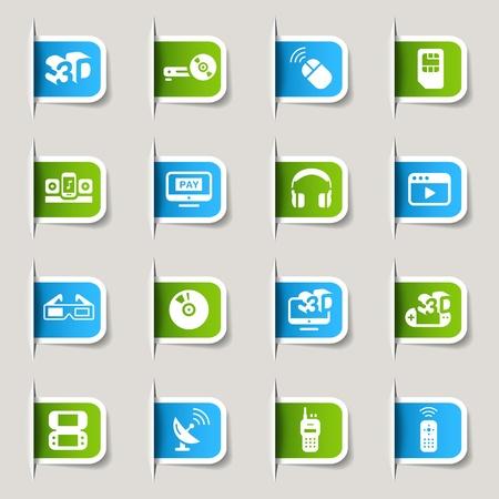jeu de carte: D'étiquettes - Icônes des médias Illustration