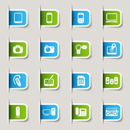bluetooth headset: Label - Media Icons Illustration