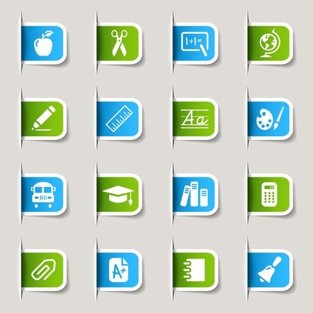 calculations: Label - School Icons  Illustration