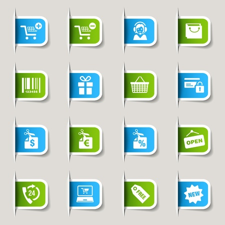 e cart: Label - Shopping icons Illustration