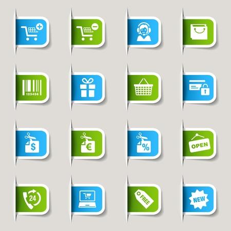 hotline: Label - Winkelen iconen Stock Illustratie