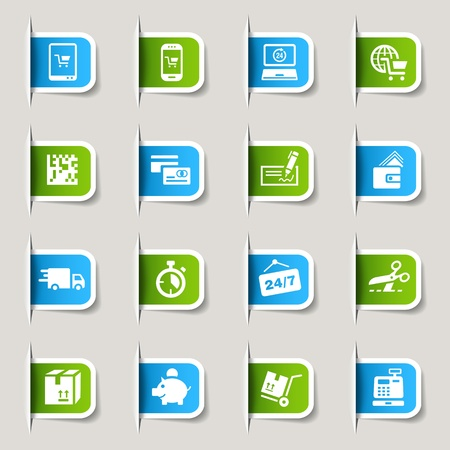 sell online: Label - Shopping icons Illustration