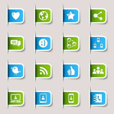 contact icon set: Label - Social media icons Illustration