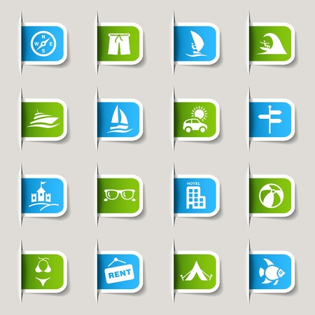 windsurf: Label - Vacation icons Illustration