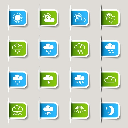 meteorology: Label- Weather Icons Illustration